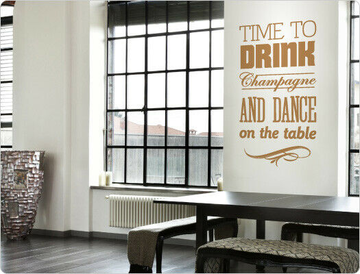 Tapisserie slogan  time to Drink Champagne  déco wohnzimmerdeko