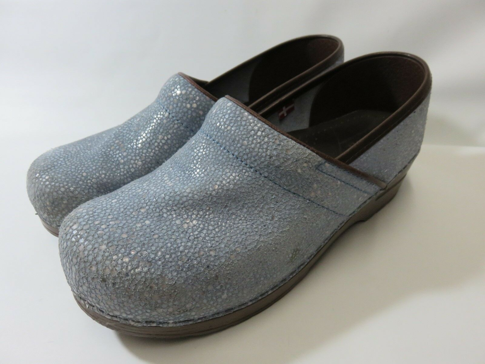SANITA bluee Leather  Sparkled  Clogs Women's Size 41 Med EUC  Made in Denmark