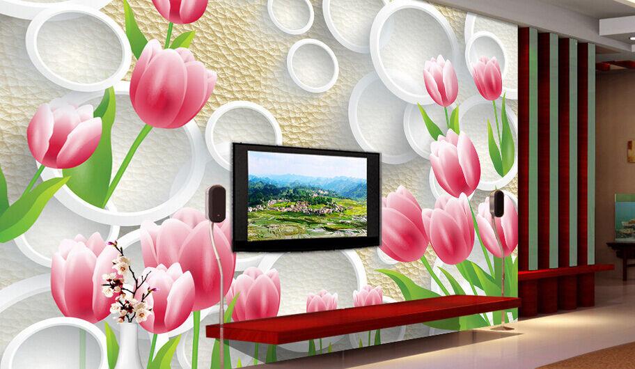 3D Tulpen in voller Blüte Fototapeten Wandbild Fototapete BildTapete Familie
