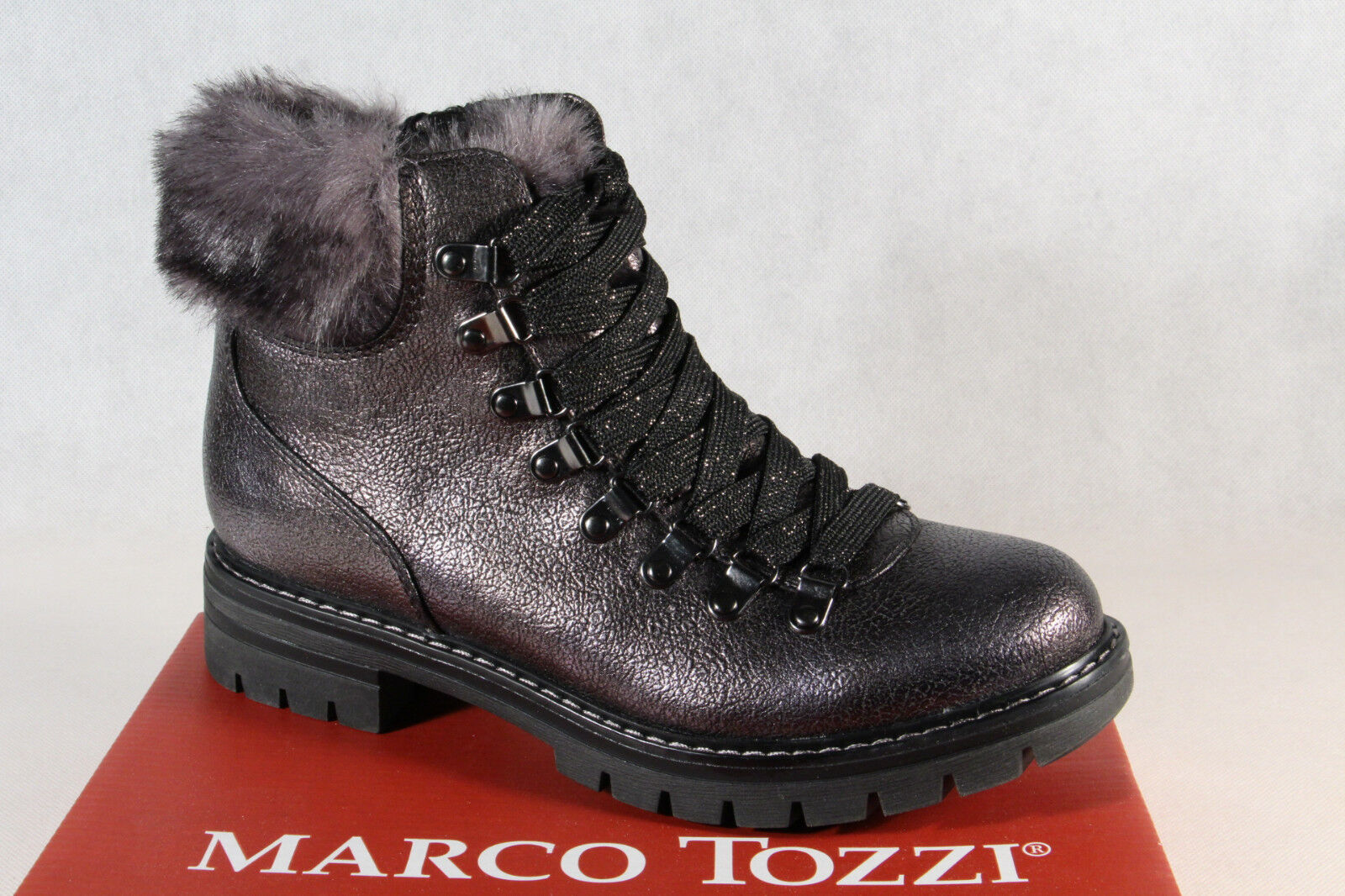 Marco Tozzi 26241 Women's Boots Ankle Boots Lace up Boots Grey New