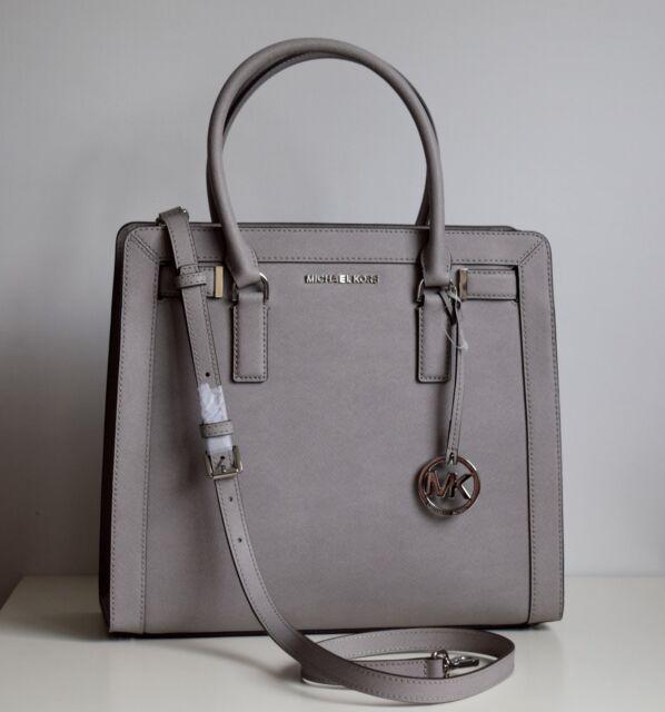 MICHAEL KORS Damen Tasche DILLON pearl grey Saffiano Leder TZ LG NS SATCHEL