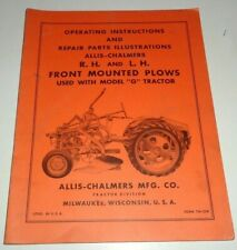 Allis Chalmers G Tractor Front Mounted Plow Operators Amp Parts Manual Original