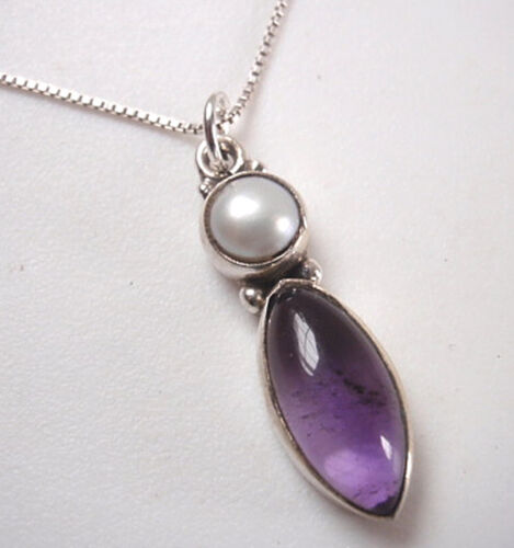 Amethyst Marquise with Cultured Pearl 925 Sterling Silver Pendant Corona Sun