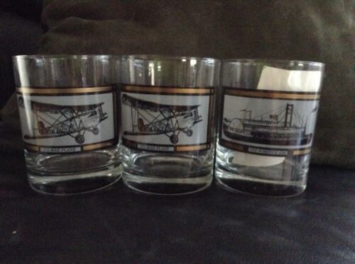 1980's AMERICA ON THE MOVE Whisky Glasses The General Robert E. Lee Mail Plane