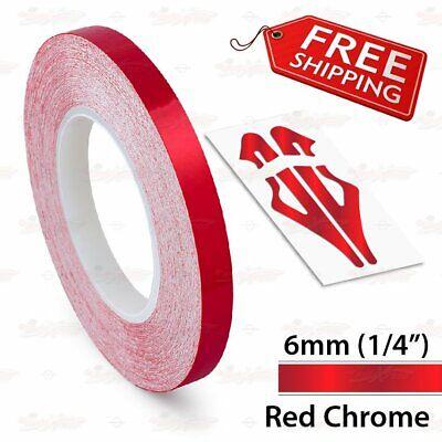 "RED CHROME 6mm 1//4/"" Roll PIN STRIPE Car Striping Line TAPE Decal Vinyl Sticker"