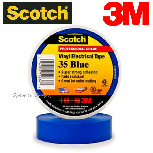 "10 Pack 3M 3//4/"" x 66ft Scotch Vinyl Electrical Electricians Tape Roll 35 Blue UL"