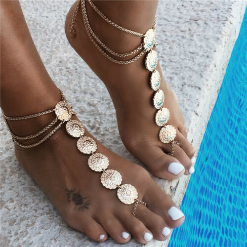 2019 Nouveau Femmes Boho Pieds nus Sandale Plage Cheville Chaîne Pied Toe Bague Bracelet