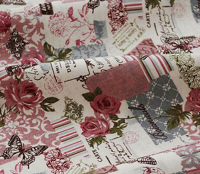 Retro Rose Cotton and linen Pre-Cut Cotton Quilt cloth Fabric for Sewing