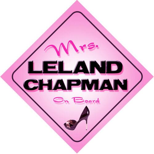 Mrs Leland Chapman on Board Baby Pink Car Sign