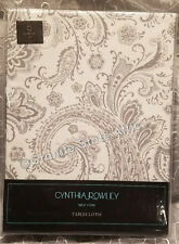 """Cynthia Rowley Tablecloth 70"""" Round Silver Gray Tapestry 100% Cotton SHIPS FREE!"""