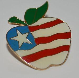 Patriotic-Klein-International-Gold-Tone-Patriotic-Apple-Brooch-Tie-Pin