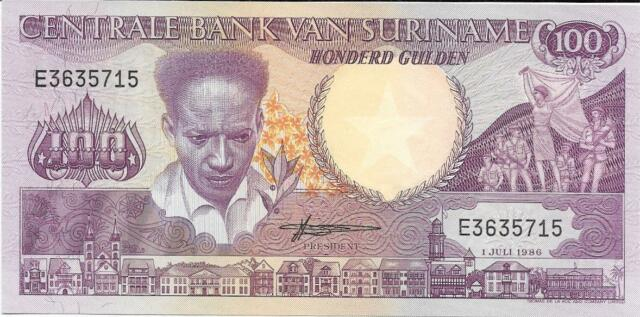 Suriname 100 Gulden 1986 P-133a Unc