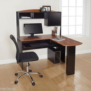 Image is loading New-Computer-Desk-&-Chair-Corner-L-Shape- & New Computer Desk u0026 Chair Corner L-Shape Hutch Ergonomic Study Table ...