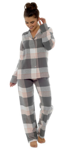 Luxury Womens Fleece Pyjamas Full Length Warm Winter Traditional Button Pjs Size