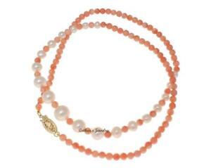 Sur Jaune Culture Or Rose Corail Collier Détails Véritable Agrafe 14k Balle Perles De En Ybygf76v