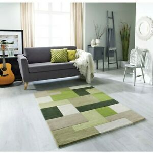 Details About Lexus Green Rugs Geometric Blocks Design Wool Pile Indian Rug 120x170cm