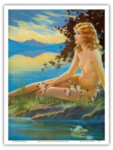 1930s Vintage Pin Up Girl Print Mabel Rollins Harris Nude by the Lake