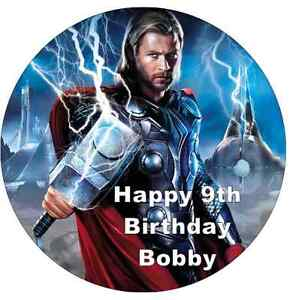 """Thor Avengers Personalised Cake Topper 7.5/"""" Edible Wafer Paper Birthday Party"""