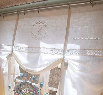 Raff Gardine CRYSTAL WEISS 120x120 LillaBelle Monogramm bestickt Rollo Curtain