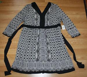 NWT Womens ECI New York Black and White Pattern Dress Size Small S Tie Waist