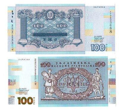 Souvenir UNC NEW 5 pcs x 100 Hryven 2018 comm. Ukraine 1917-1921