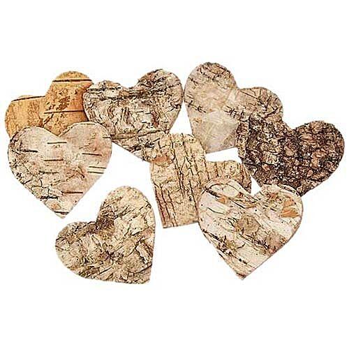Birkenrinde Birkherzen 4,5 cm  60 Stück Herz Streumaterial natur St/0,17 €