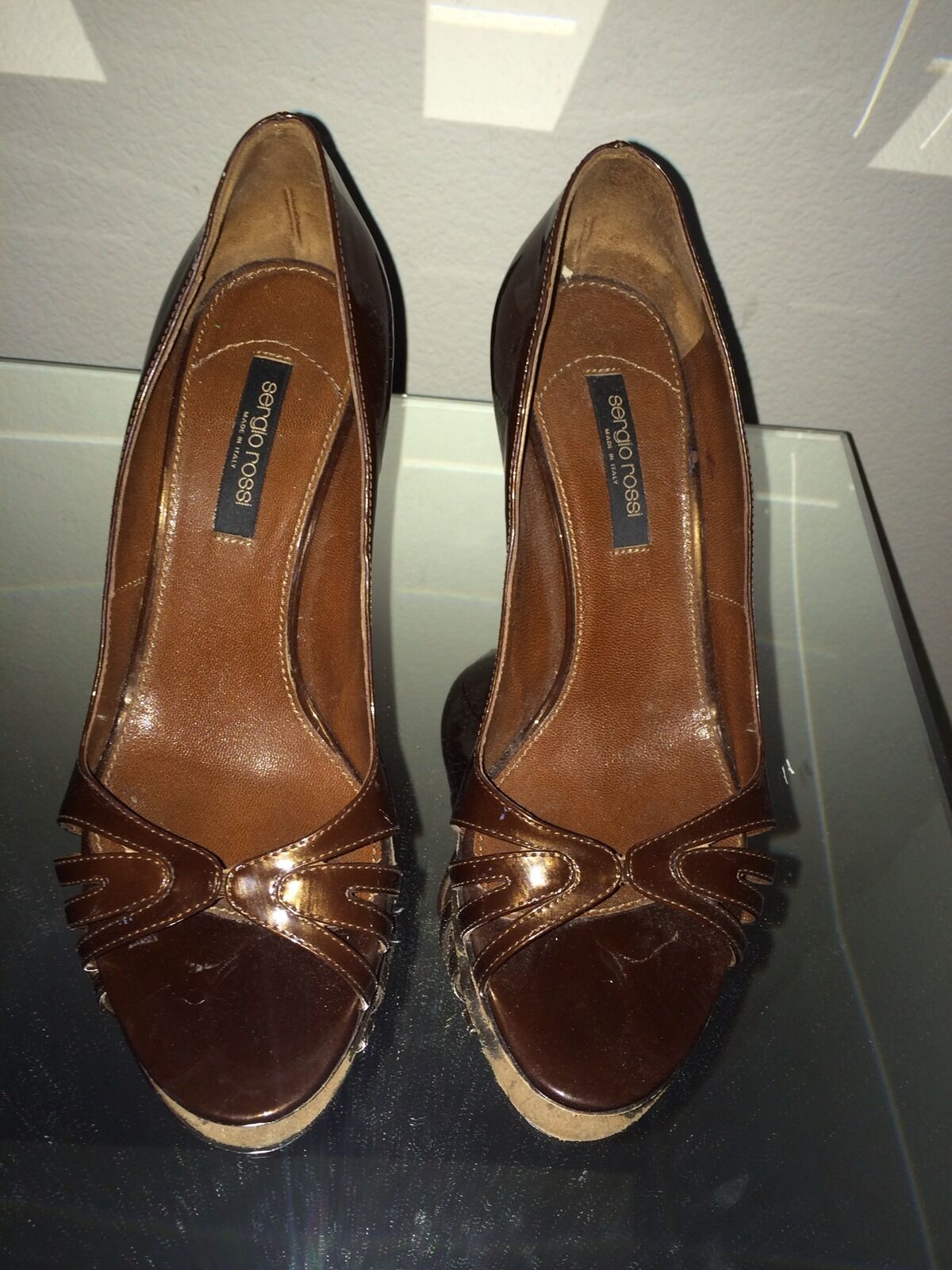 SERGIO ROSSI Brown Patent Leather Open Toe Pumps Heels Sz 38 (US 7.5)