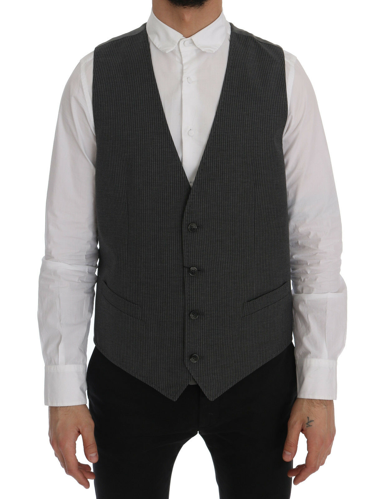 NEW DOLCE & GABBANA STAFF Vest Waistcoat grau Cotton Rayon IT56 / US46 /2XL