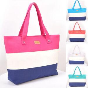 Beach-Bag-Womens-Ladies-Large-Striped-Summer-Shoulder-Shopper-Tote-Canvas-Bags