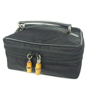 bdcf9ae24fe511 Auth GUCCI Bamboo Nylon Canvas Mini Vanity Bag Pouch F/S 736 | eBay