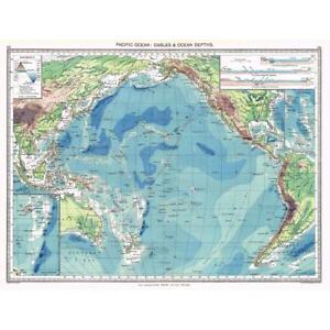 Antique Map Pacific Ocean Cables Ocean Depths - Pacific ocean depth map