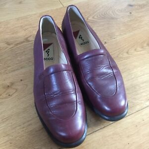 ecco-size-5-eur-38-burgungy-leather-loafers