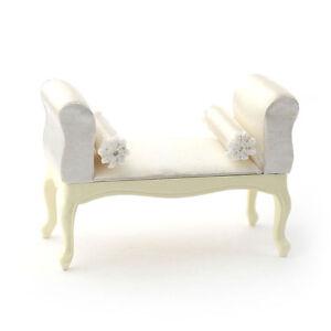 Pokoje i domki dla lalek Dolls House 5667 George III Cream Sitzbank 1:12 für Puppenhaus NEU # Zabawki