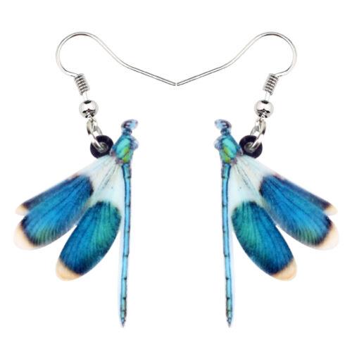 Acrylique Bleu Libellule Boucles d/'oreilles Goutte Dangle Insect Bijoux pour Femmes filles charme