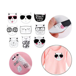 9pcs-Heat-Transfers-Patches-Cute-Cat-Clothing-Stickers-DIY-Iron-on-Applique-DIY