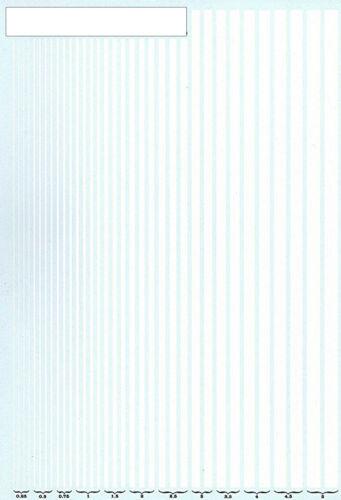 Rayas blanco 0,25-5,0 mm Stripes White 1:18 decal abziehbil