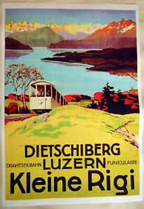 Large Format Facsimile of 1914 Swiss Travel Poster Rigi Cable Car 36x25 Luzern