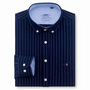 Shirts-Men-039-s-Striped-Clothing-Casual-Formal-Wear-Square-Collar-Long-Full-Sleeves