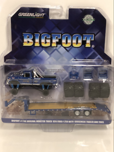 Grand-Pied-Monster-Truck-avec-Cygne-Remorque-et-Pneus-1-64-Greenlight-30054