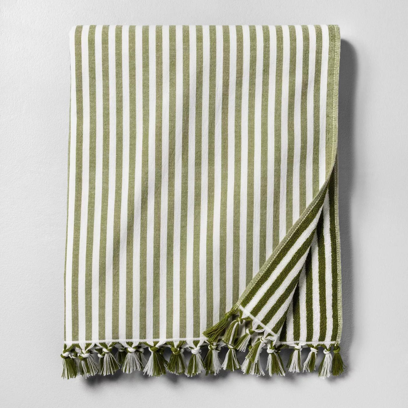 "Set of 2 40/""x72/"" Beach Towel Stripe Green Hearth /& Hand with Magnolia"