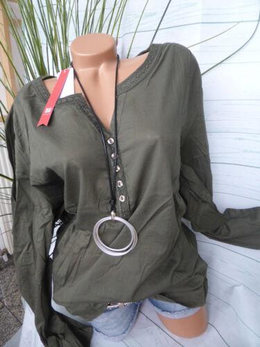 40-58 Khaki mit Stickerei NEU Sheego Baumwoll Bluse Shirt Übergröße Gr 701