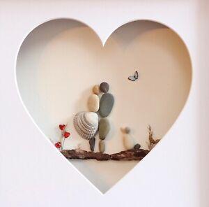 Pebble Art Photo Couple Avec Un Chien Cadeau De Mariage Anniversaire Cadeau Ebay