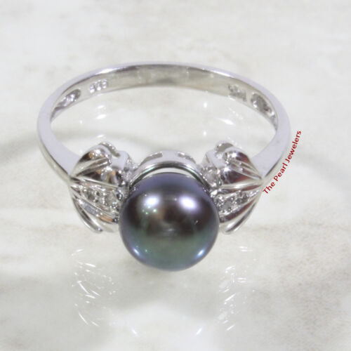 14k White Gold AAA Black Cultured Pearl /& Diamonds Solitaire w// Accents Ring TPJ