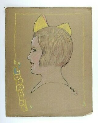 Vintage Dessin Au Crayon Portrait Dune Jeune Fille Côté