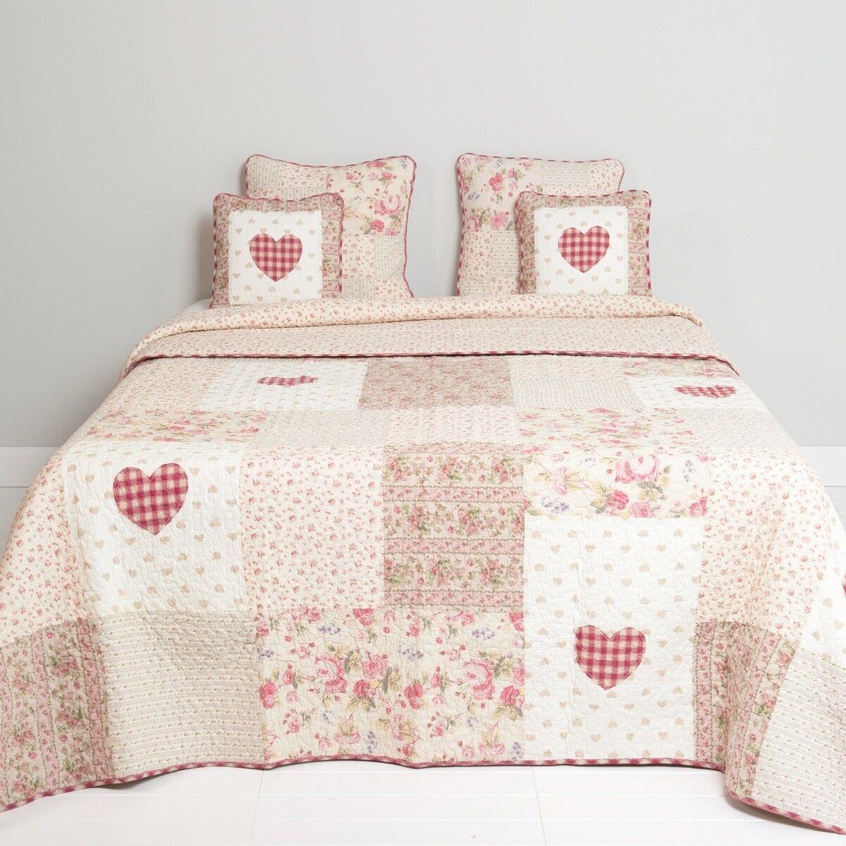 COPRILETTO Heart rosa 230x260 cm cuore crema naturale rosa rosa rosa rosso a79e72