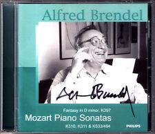 Alfred Brendel SIGNED Mozart PIANO SONATA k.310 311 533 FANTASY k.397 CD PHILIPS