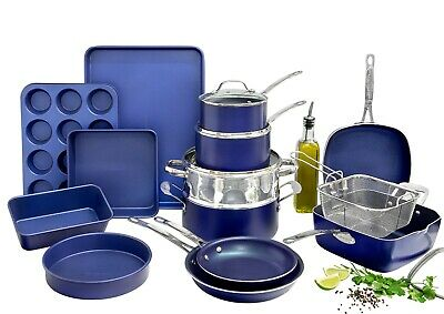 Granitestone Diamond Blue 20 Piece All In One Kitchen, Cookware and Bakeware Set