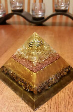 Divine Golden Ray of Light Healing Orgone Crystal Pyramid -Large & Powerful!