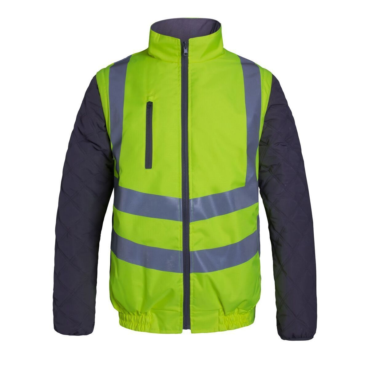 Aqua High Visibility Reversible PU Polyester Bodywarmer Gilet Detachable Sleeves
