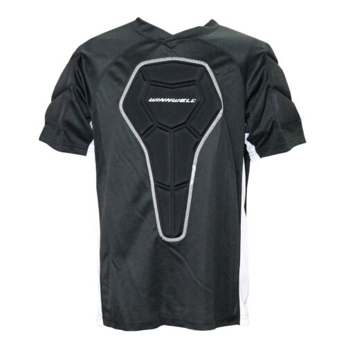 White Winnwell Basic Senior Padded Roller Hockey Shirt Black NEW